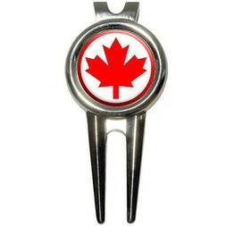 Canada Maple Leaf Flag Golf Divot Repair Tool and Ball Marke