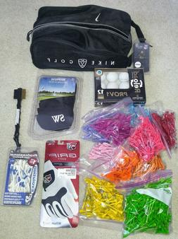 Golf Accessories: Nike Bag, Glove, Balls, Tees, Iron Covers,