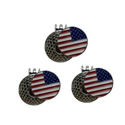 Golf Ball Marker With Magnetic Hat Clip USA Flag 3 Pack Quic