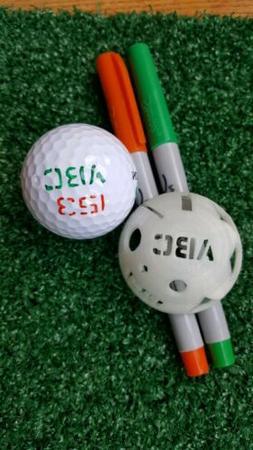 Golf Ball Stencil - Custom Initials, numbers plus 3 circles,