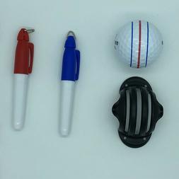 Golf Ball Triple Track 3 Line Marker Stencil ERC Chrome Soft