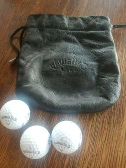 CALLAWAY Golf Leather Drawstring Bag W/3 New Balls