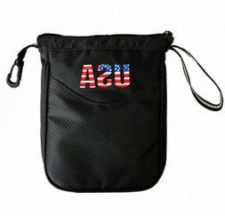 Golf Pouch Bag Valuables Accessory Zipper Holder Balls & Tee