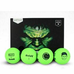 Volvik Golf Vivid XT Marvel Hulk 4 Balls with Ball Marker Li