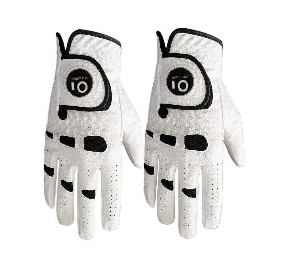 Golf Gloves Mens 2 Pack Ball Marker PerformanceGrip White Pi