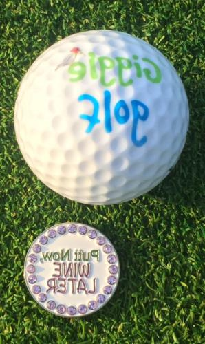 Giggle Golf Bling Putt Now, Wine Later Golf Ball Marker with