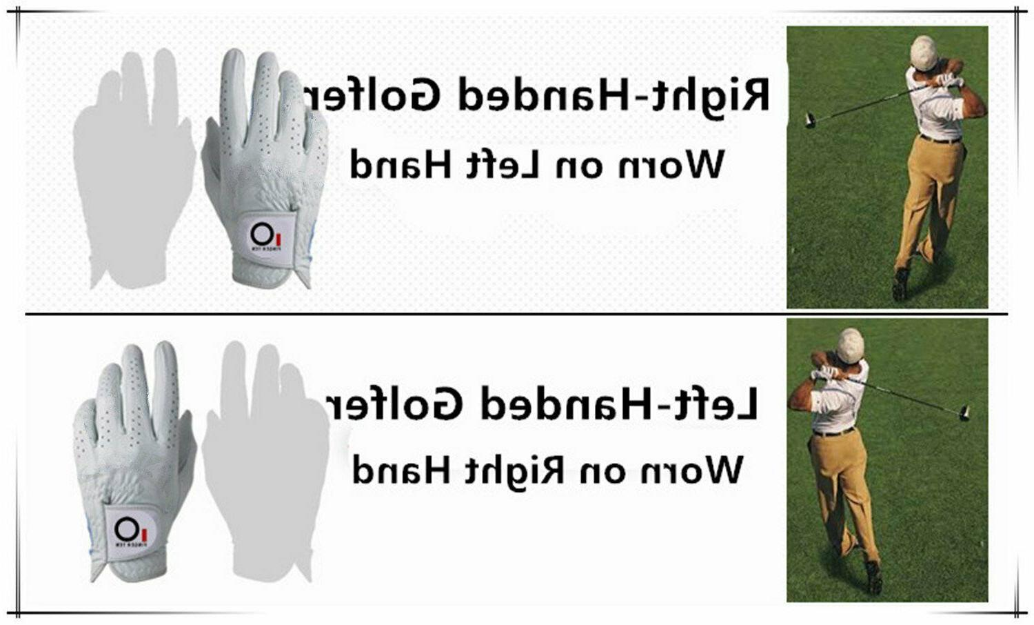 PU Leather Golf Glove Mens w/Magnetic Ball 1/2 Finger Ten