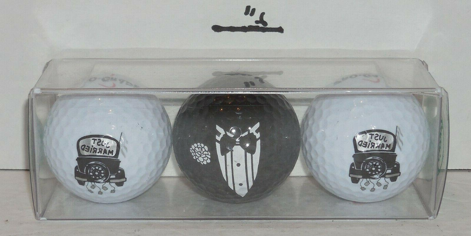 just married wedding variety golf ball gift