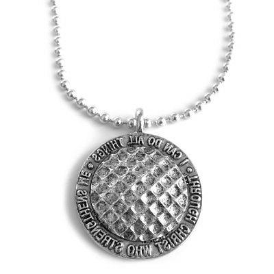 phil 4 13 golf ball necklace silver
