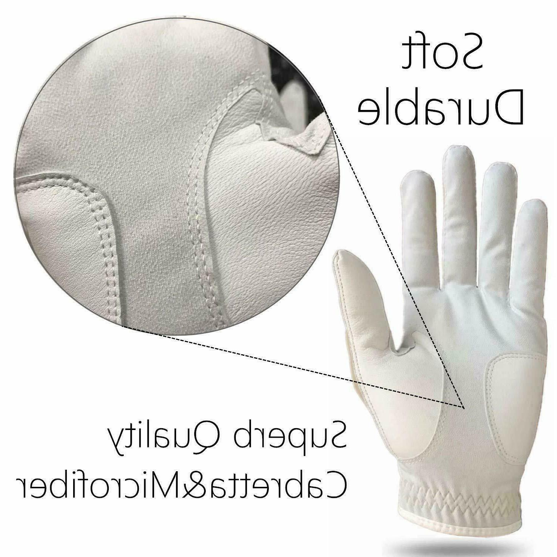 PU Golf Glove Mens w/Magnetic 1/2 Finger US