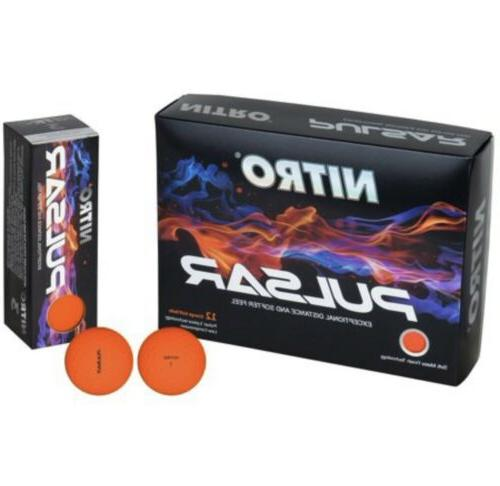 NITRO PULSAR 1 Orange Golf Balls Matte Finish NEW