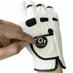 FINGER TEN Men's Golf Glove with Ball Marker Value 2 Pack