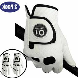 Mens Golf Gloves with Ball Marker 2 Pack Left Hand Right Lea