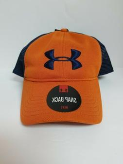UNDER ARMOUR MESH SNAP BACK GOLF BALL CAP ORANGE AND NAVY