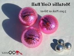 A99 Golf Metallic Ball 3pcs Pink or Silver
