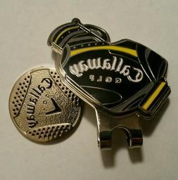 Brand New Navy Blue and Yellow Callaway Golf Bag Ball marker