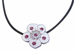 Necklace with Crystal White Flower Golf Ball Marker & Magnet