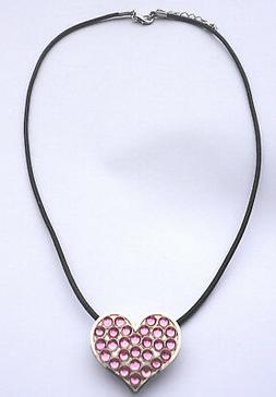 Necklace with Pink Crystals Heart Golf Ball Marker & Magneti
