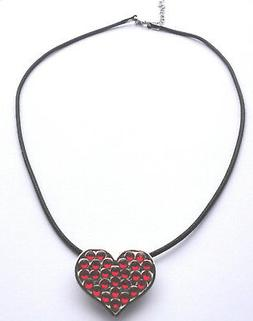 Necklace with Red Crystals Heart Golf Ball Marker & Magnetic