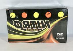 NEW IN BOX! NITRO CROSSFIRE 30 COUNT GOLF BALLS ORANGE & YEL