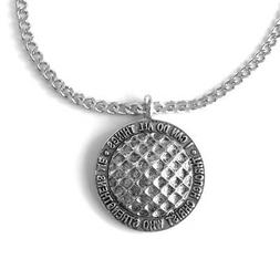 Phil 4:13 Golf ball Necklace Silver