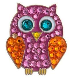 pink owl swarovski crystal ball marker