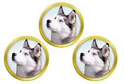 Siberian Husky Golf Ball Markers