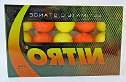 Nitro Ultimate Distance Golf Balls Orange and Yellow Box of