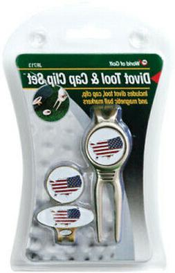 Jef World Of Golf Usa Flag Divot Tool And Cap Clip Ball Mark