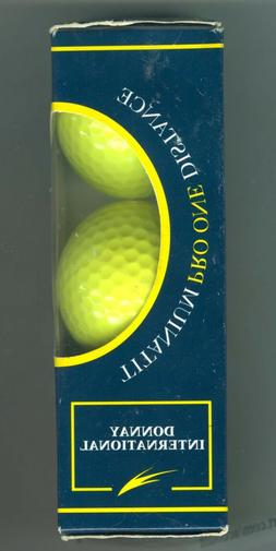 Vintage Neon Yellow Donnay Titanium One Golf Balls Box of 3,
